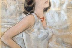 Camillo Innocenti. Modella a Fontana di Trevi - Tecnica Mista, 24 x 18 cm. Firmato in alto a sinistra Camillo Innocenti