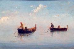 Alessandro La Volpe. Marina con Pescatori