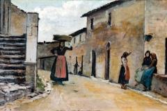 Silvestro Lega. Contadine del Gabbro - Olio su Tavola, 34,5 x 60,5 cm