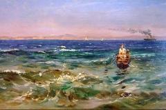 Antonino Leto. Marina con Barca