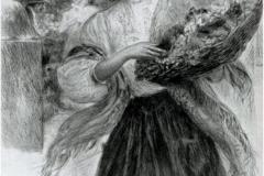 Enrico Lionne. Fioraia Romana - Tecnica: Punta a Secco
