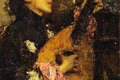 Antonio Mancini. Donna che Suona il Liuto - Tecnica: Olio su Tela. Firma in basso a sinistra