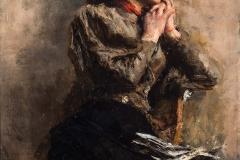 Antonio Mancini. La Modella - Tecnica: Olio su Tela, 100 x 75 cm. Firma in basso a sinistra