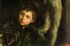 Antonio Mancini, Il Piccolo Scultore - Tecnica: Olio su Carta Applicata su Tela, 98 x 58 cm. Firma in basso a destra