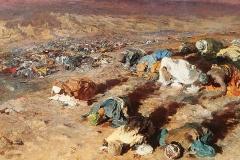 Maometto prega con i soldati nel deserto prima della battaglia di Od, 1885-1888 - Olio su tela
