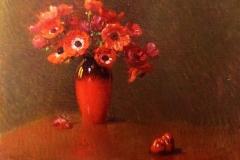 """Arturo Noci. Anemoni Rossi. 1912 - Tecnica: Olio su Tela, 50 x 65 cm. Firmato e datato in basso a destra """"Arturo Noci 1912"""""""