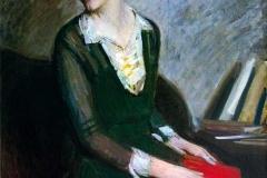 Arturo Noci. Ragazza con il Libro Rosso - Tecnica: Olio su Tela, 97 x 71 cm. Firmato e datato sul retro «Arturo Noci New York 1925»