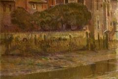 Arturo Noci. Veduta dell'Isola Tiberina - Tecnica: Olio su Tela, 120 x 70 cm