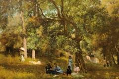 Arturo Noci. Villa Borghese, 1896 - Tecnica: Olio su Tela, 65 x 90 cm. Firmato e datato in basso a sinistra «Arturo Noci 1896»; Sul retro cartiglio di una mostra realizzata a Budapest nel 1898