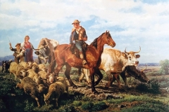 Palizzi Filippo - Ritorno dai campi, 1875. Olio su tela, 62,5 x 95,5 cm. Firmato e datato in basso a sinistra