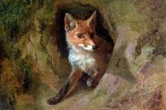 Palizzi Filippo - Volpe in agguato, 1848. Olio su tela, 39 x 53 cm