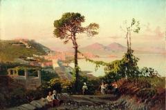 Palizzi Nicola - Veduta della baia di Napoli. Olio su cartoncino, 19 x 28 cm