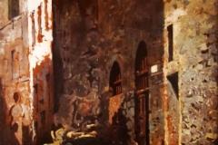 Teofilo Patini. Via di Castel di Sangro - Tecnica: Olio su Cartone Incollato su Tela, 43 x 30 cm