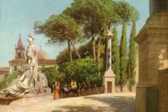 """Pietro Sassi. La Salita del Pincio - Tecnica. Olio su Tela, 31 x 39,5. Firmato e datato in basso a sinistra """"Roma 1874 Sassi"""""""