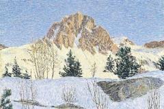 Gottardo Segantini. Paesaggio Invernale - Tecnica: Olio su Tavola, 58,5 x 42,5 cm