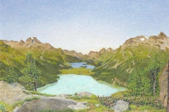 Gottardo Segantini. Vista dell'Altra Engadina - Tecnica: Olio su Tavola