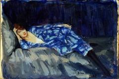 Lino Selvatico. Sinfonia blu (bozzetto) - Tecnica: Olio su Tavola, 21 x 35 cm