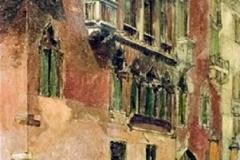 Augusto Sezanne. Palazzo Veneziano - Olio su Tavola, 30 x 17 cm