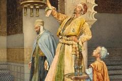 Giuseppe Signorini. L'Accensione della Lampada nella Moschea - Acquarello su Carta, 30,5 x 19,2 cm