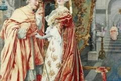 Giuseppe Signorini. Il cardinale e la fanciulla - Acquarello su Carta, 55,3 x 36,8 cm