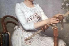 Filadelfo Simi. La ricamatrice - Tecnica: Olio su tela, 120 x 85 cm