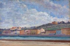 Filadelfo Simi. Veduta dell'Arno - Tecnica: Olio su cartone, 22 x 32,2 cm