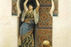 Gustavo Simoni. La Suonatrice di Tamburo - Acquarello su carta, 77 x 51 cm