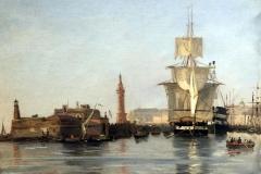 Gabriele Smargiassi - Porto di Napoli con il Faro di Santa Lucia, 1832. Tecnica: Olio su Carta