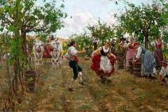 Raffaello Sorbi. La festa della Vendemmia - Olio su tela, 48,8 x 80 cm. Firma in basso a destra