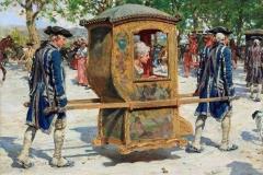 Raffaello Sorbi. La Portantina - Olio su tela, 33,3 x 43,9 cm