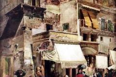 Luigi Sorio. Veduta Cittadina - Olio su Tela, 88 x 63 cm
