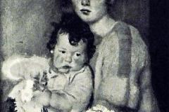 Armando Spadini. Madre con Bambino e Fiori - Tecnica: Olio su tela