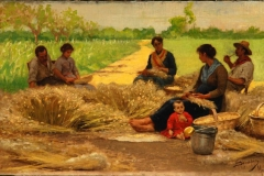 Eugenio Spreafico. Lo scartocciamento della melica - Olio su tela