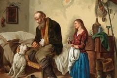 Guglielmo Stella. Scena domestica - Olio su tela
