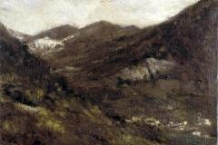 Cesare Tallone. Paesaggio con Cittadina - Olio su Tela