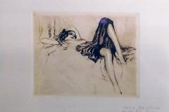 Aleardo Terzi. Donna Sdraiata | Incisione, 16 x 19 cm