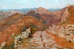 Angiolo Tommasi. Sentiero di Montagna - Olio su Tavola, 24 x 38,6 cm