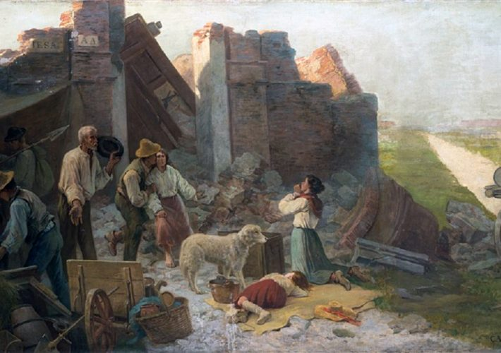 Carlo Ademollo. Dopo il terremoto. Olio su tela. Misure: 85 x 140 cm
