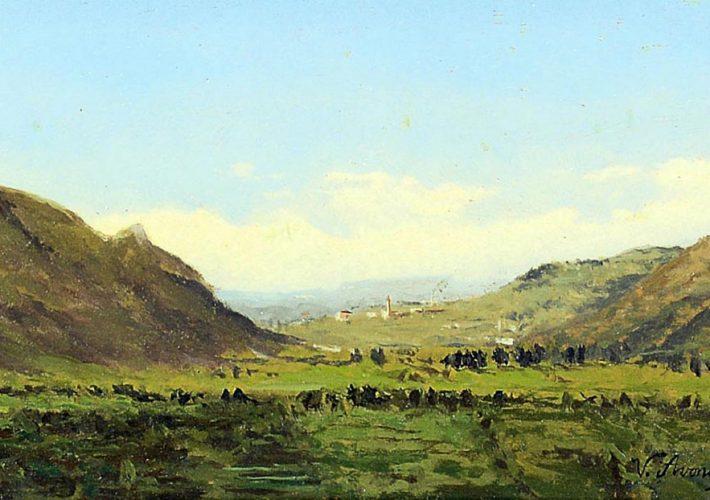 Vittorio Avondo. Paesaggio piemontese, 1862. Olio su tavola, 18 x 30 cm. Firma e data in basso a destra