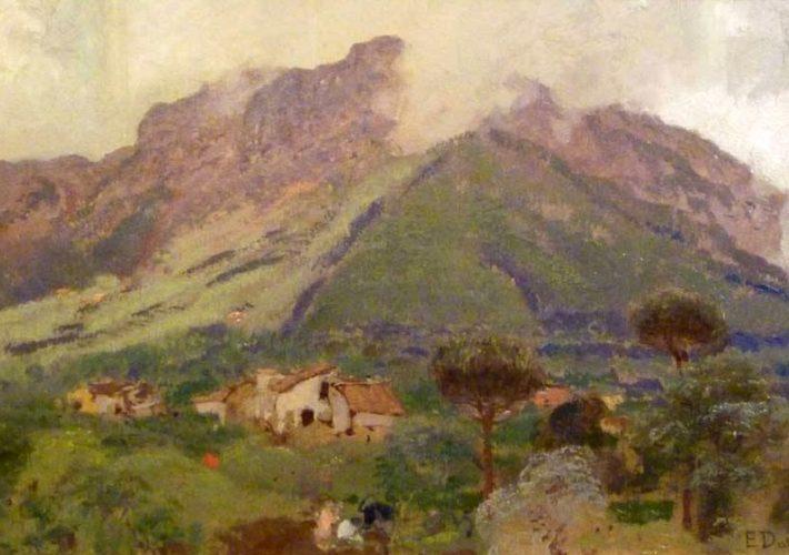 Eduardo Dalbono, Paesaggio - Tecnica: Olio su cartone, 16,5 x 26,5 cm. Firmato in basso a destra
