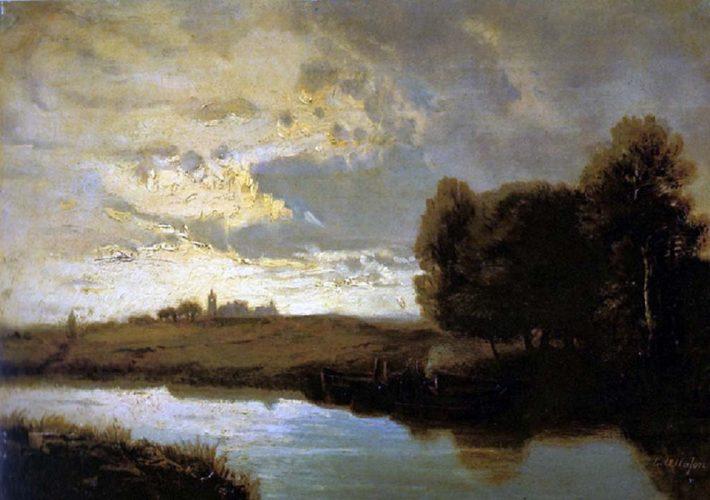 Ernesto Allason. Paesaggio fluviale. Olio su tavola, 27,5 x 40,2 cm. Firma in basso a destra
