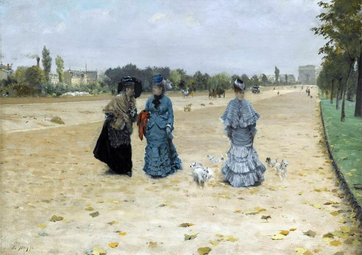 Giuseppe De Nittis. Avenue du Bois de Boulogne - Olio su tela 32,2 x 42,2 cm. Firma in basso a sinistra