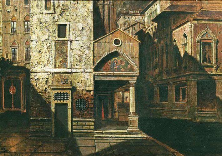 Mario De Maria. Venezia - Tecnica: olio su Cartone, 33 x 67 cm