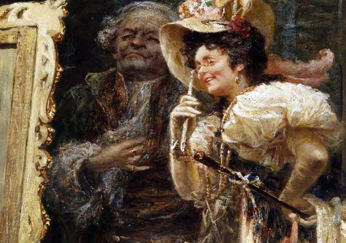 Raffaele Armenise. Esame di un quadro nello studio del pittore (dettaglio). Olio su carta, 50 x 39,5 cm