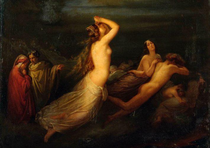 Saverio Altamura. Episodio della Divina Commedia. Olio su tela, 62 x 81 cm. Firma in basso a sinistra
