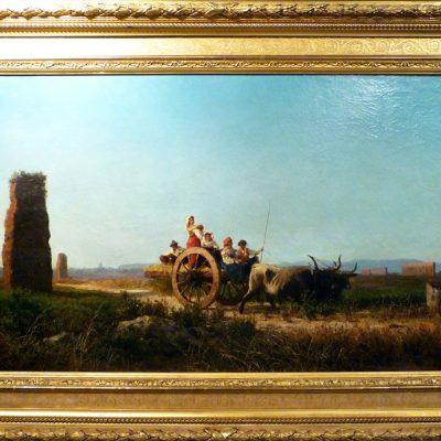 Achille Vertunni. Carro nella campagna romana, 1880