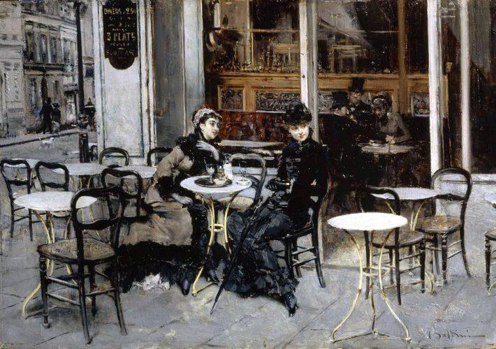 Boldini Giovanni. Conversazione al caffè, 1879