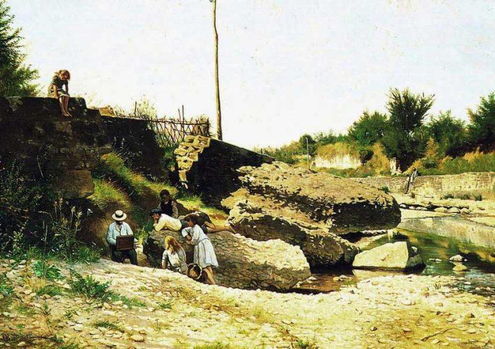 Odoardo Borrani. Il mattino sul torrente Mugnone. Olio su tavola, 45 x 78 cm. Firma in basso a sinistra