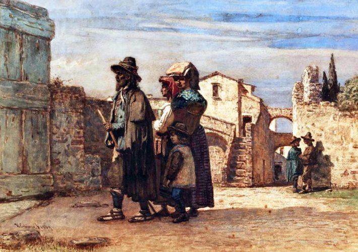 Vincenzo Cabianca - Le figlie del pastore, 1869. Acquarello su carta, 40,8 x 54,8 cm. Firma e data in basso a sinistra