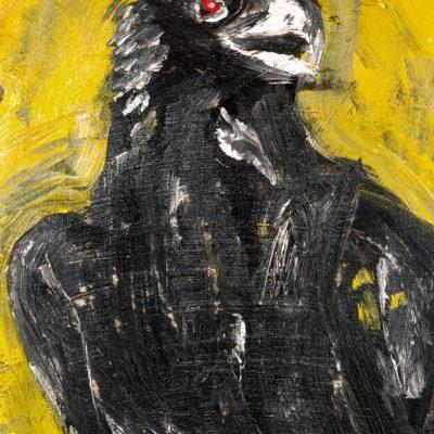Jack Keruac. Raven, N.D., olio su tela, 29×23 cm